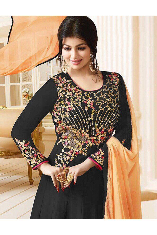 Indian Women Designer Partywear Ethnic Traditonal Black Salwar Kameez.