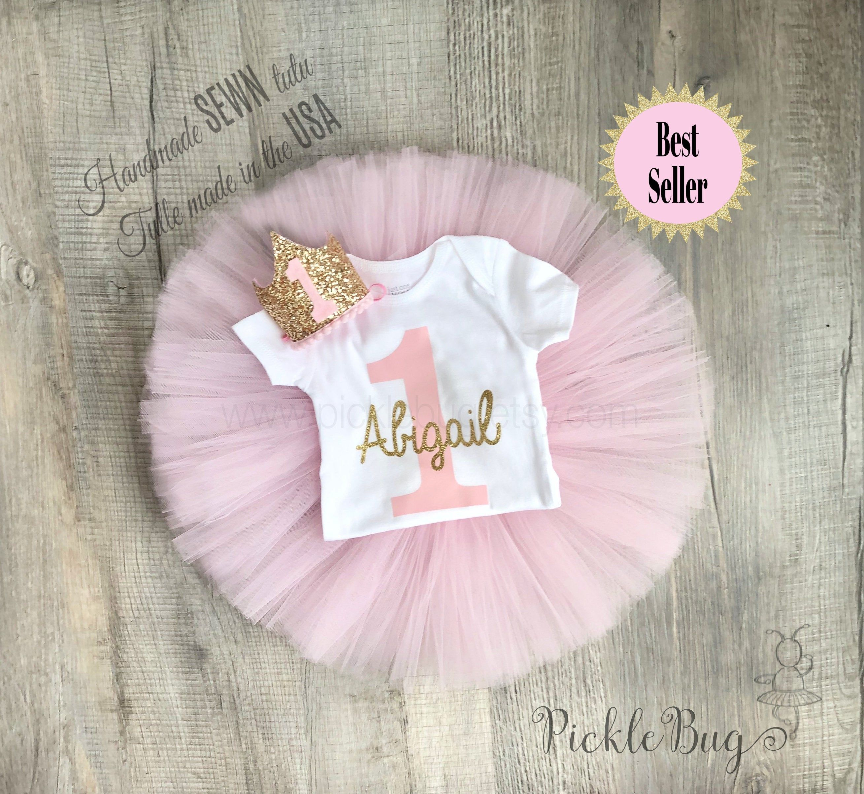 iixpin Infant Baby Girls First 1st Birthday Cake Smash Tutu Skirt Polka Dots Sundress with Glittery T-Shirt