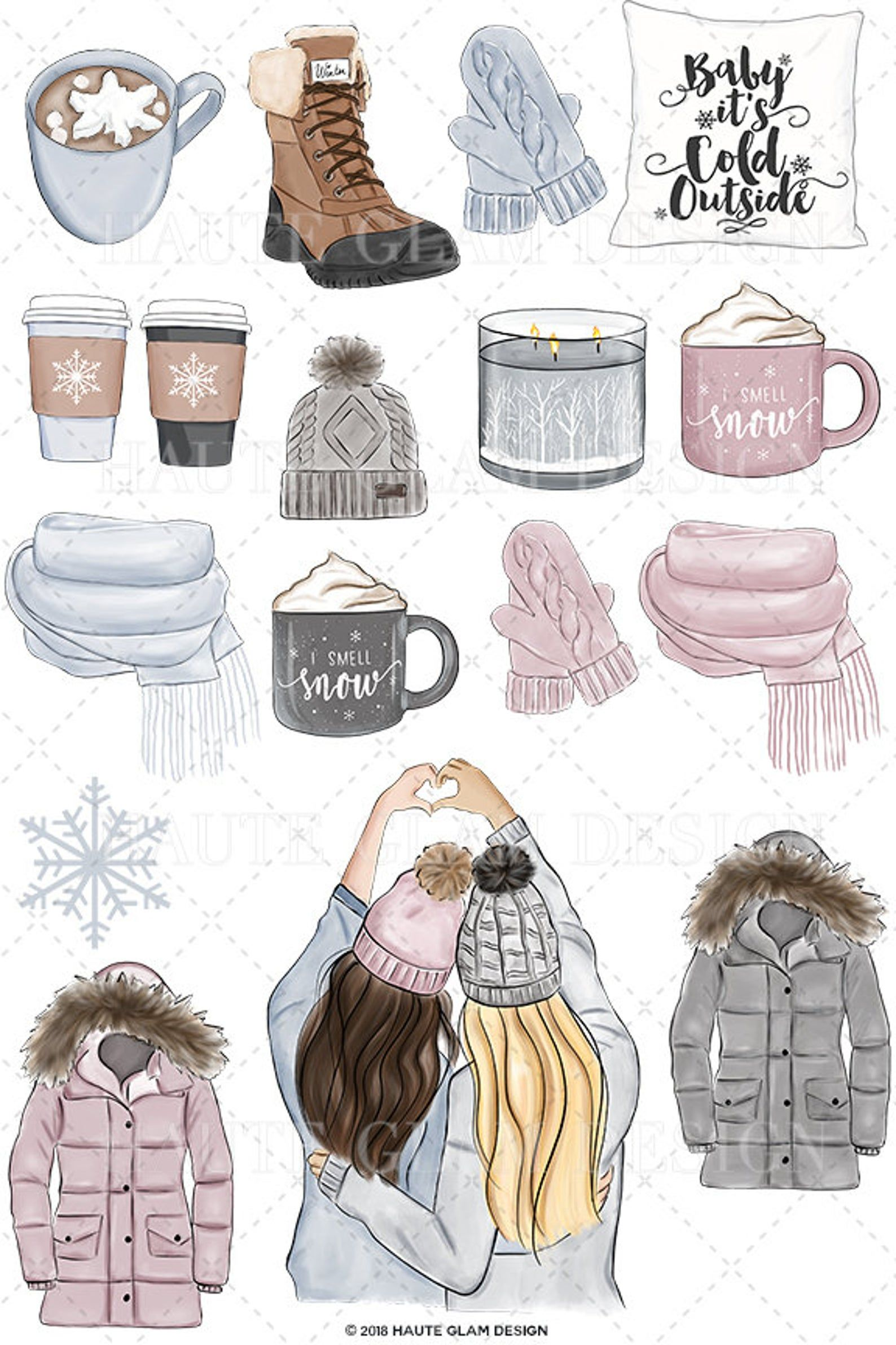 Photo of Winter Essentials Clipart, Cozy Winter, Best Friends, Hot Cocoa, Snow Boots, Winter Gear, Blonde Brunette Clip Art, Snow Pattern, 18 PNG