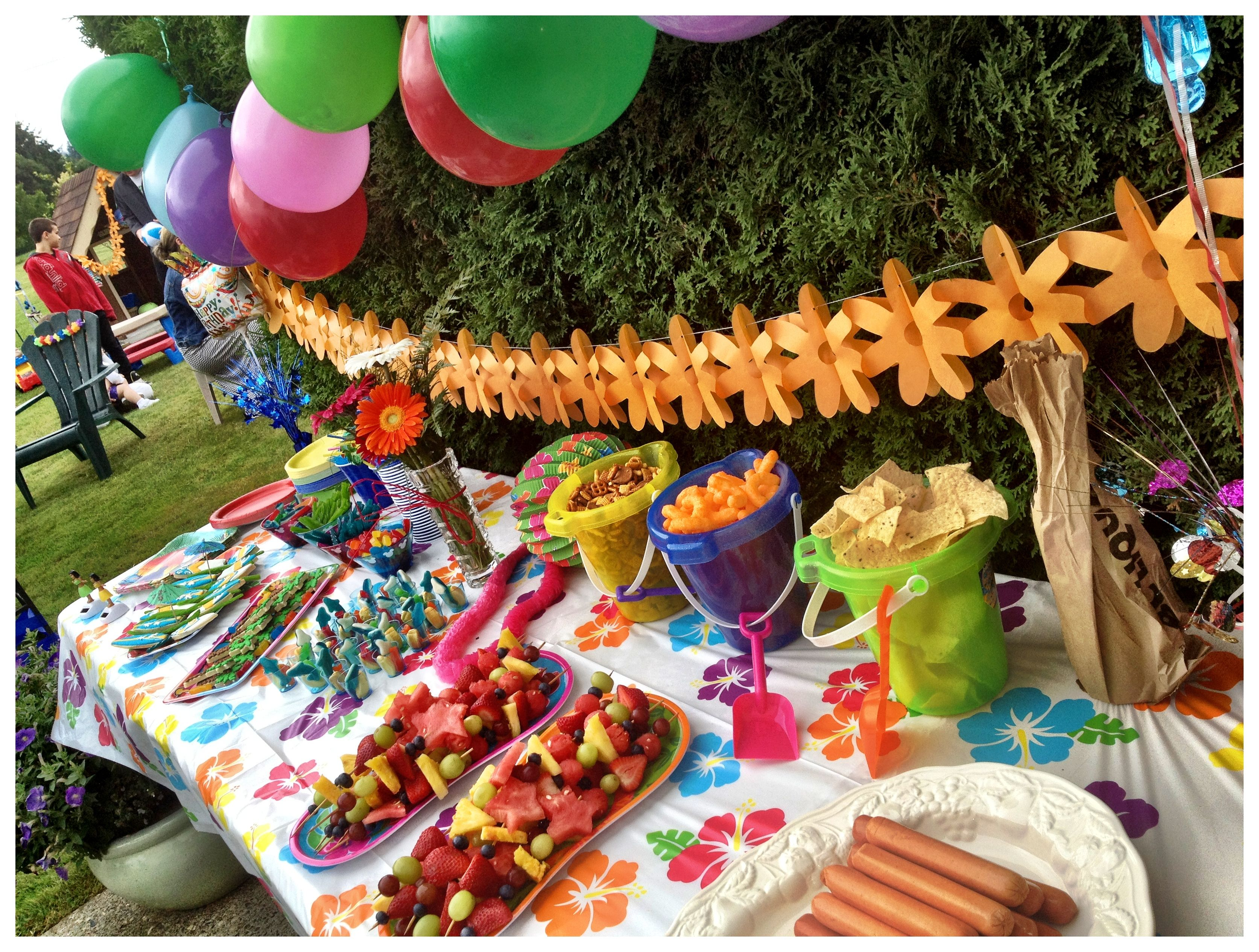 Kids Beach Birthday Party Food Table With Images Summer