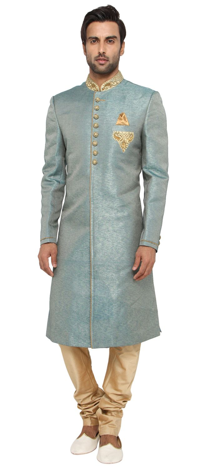 504727: Green color family stitched Sherwani . … | Pinteres…