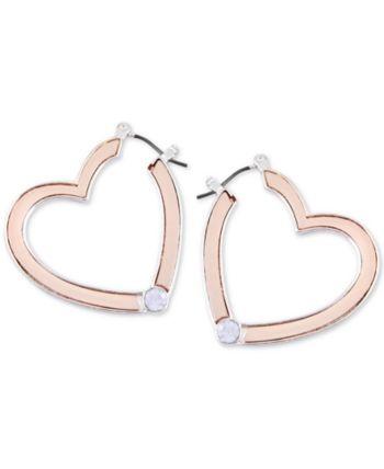 e4e649b3e06f4e Guess Two-Tone Crystal Heart Hoop Earrings - Gold | Products in 2019 ...