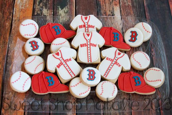 Boston Red Sox Cookies 4 Of 4 Red Sox Cake Red Sox Birthday Party Boston Red Sox Party