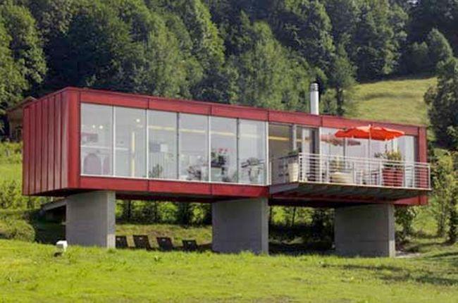Container surélevé sur murs porteurs | maisons | Maison ...
