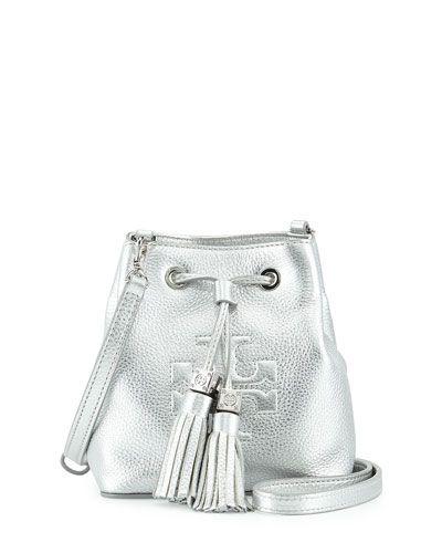 5924289ef83d Tory Burch Thea Silver Mini Crossbody Bucket Bag -  250.00