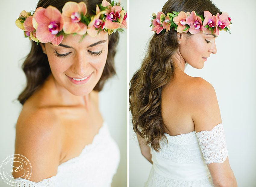 Haku Lei Style Hawaii Bride Flower Crown Hawaiian Flowers Bride Flowers In Hair Bride Hairstyles Flower Crown Bride Bride Flowers Hawaiian Wedding Flowers