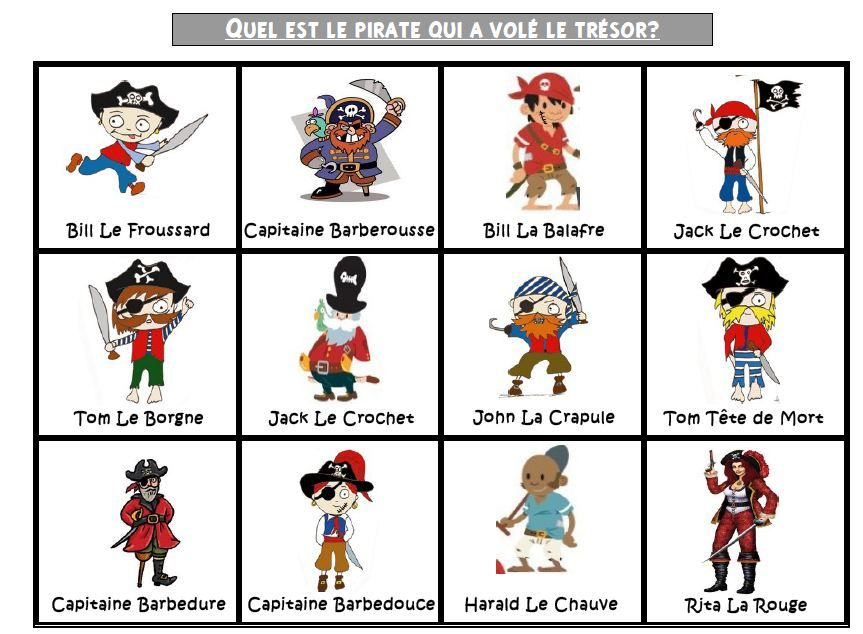 Qui est-ce? version pirate | Brain gym, Math and Activities