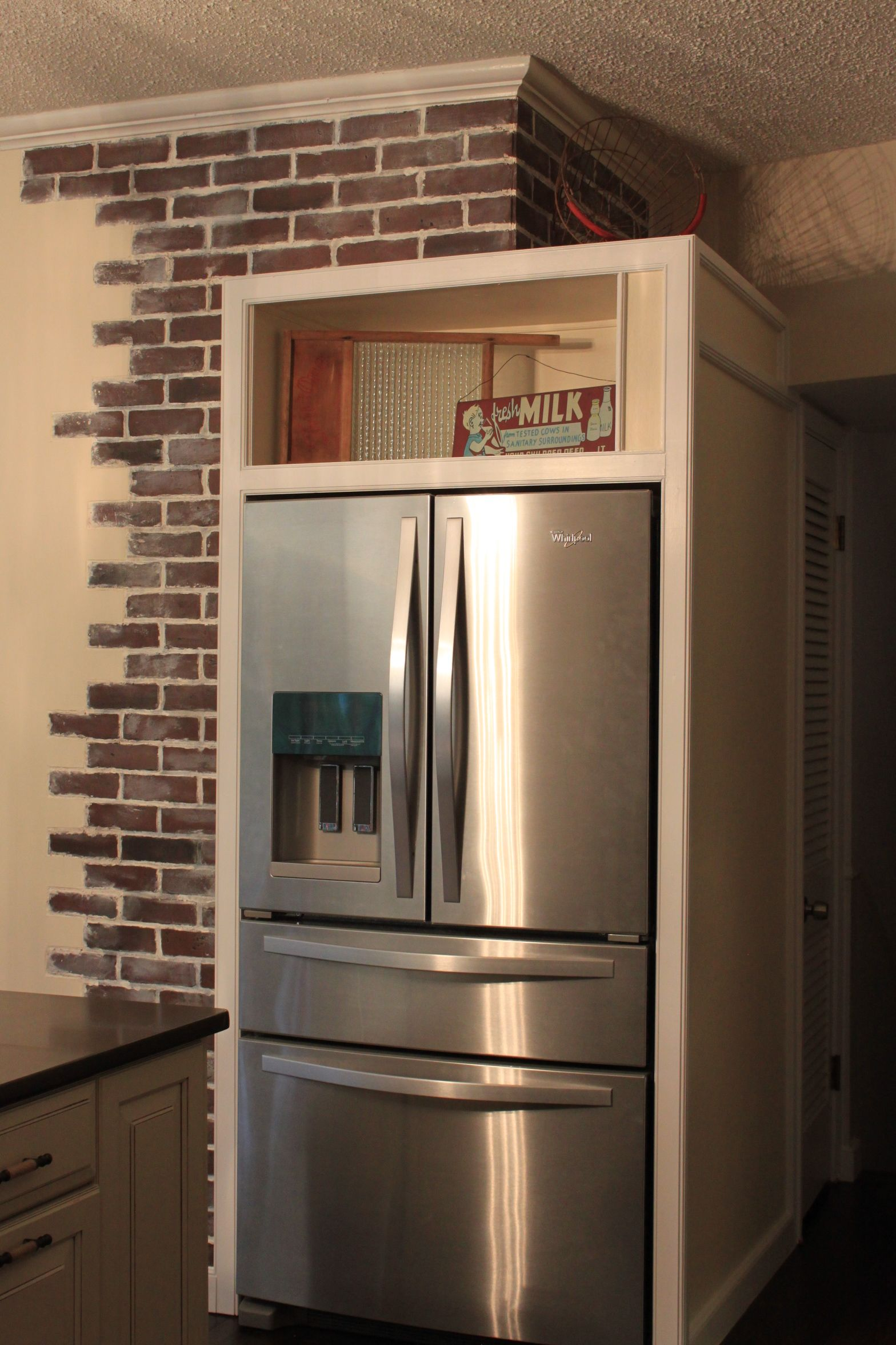 Fridge Was Turned 90 Degrees To Face Into The Kitchen We Had To Patch The Wall After Removing The Giant Sh Faux Brick Panels Brick Paneling Home Depot Bricks