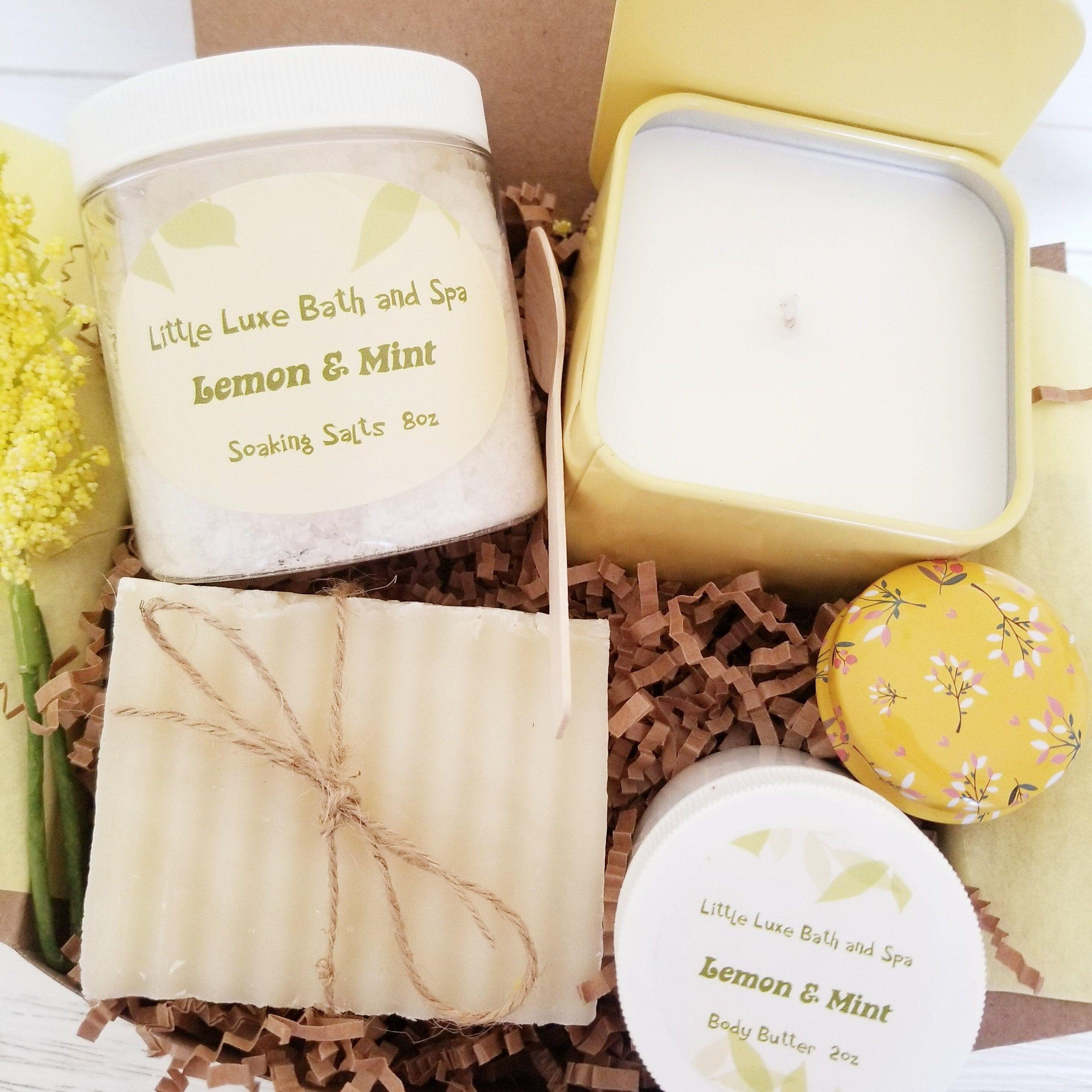 Lemon & Mint- Self Care Gift Box- Birthday Gift Box- Lemon Gift Box- Aromatherapy Spa Box- Wellness Gift Box- Feel Good Gift Box- Lemon