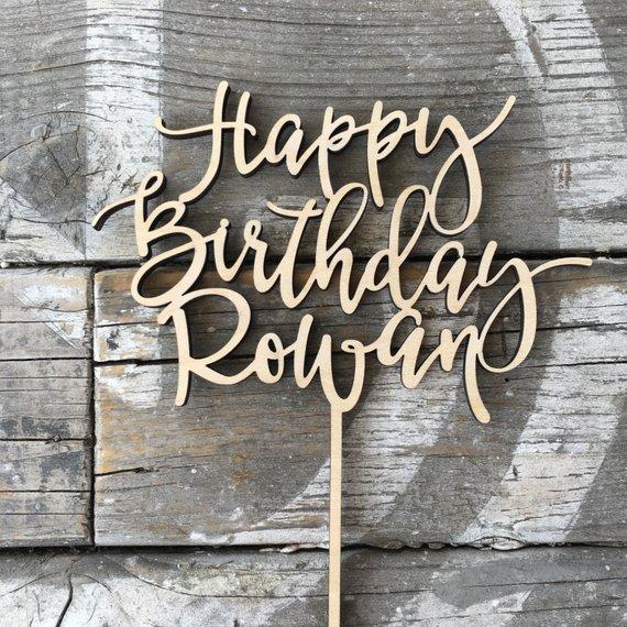 Wooden Cake Topper Happy Birthday Cake Topper