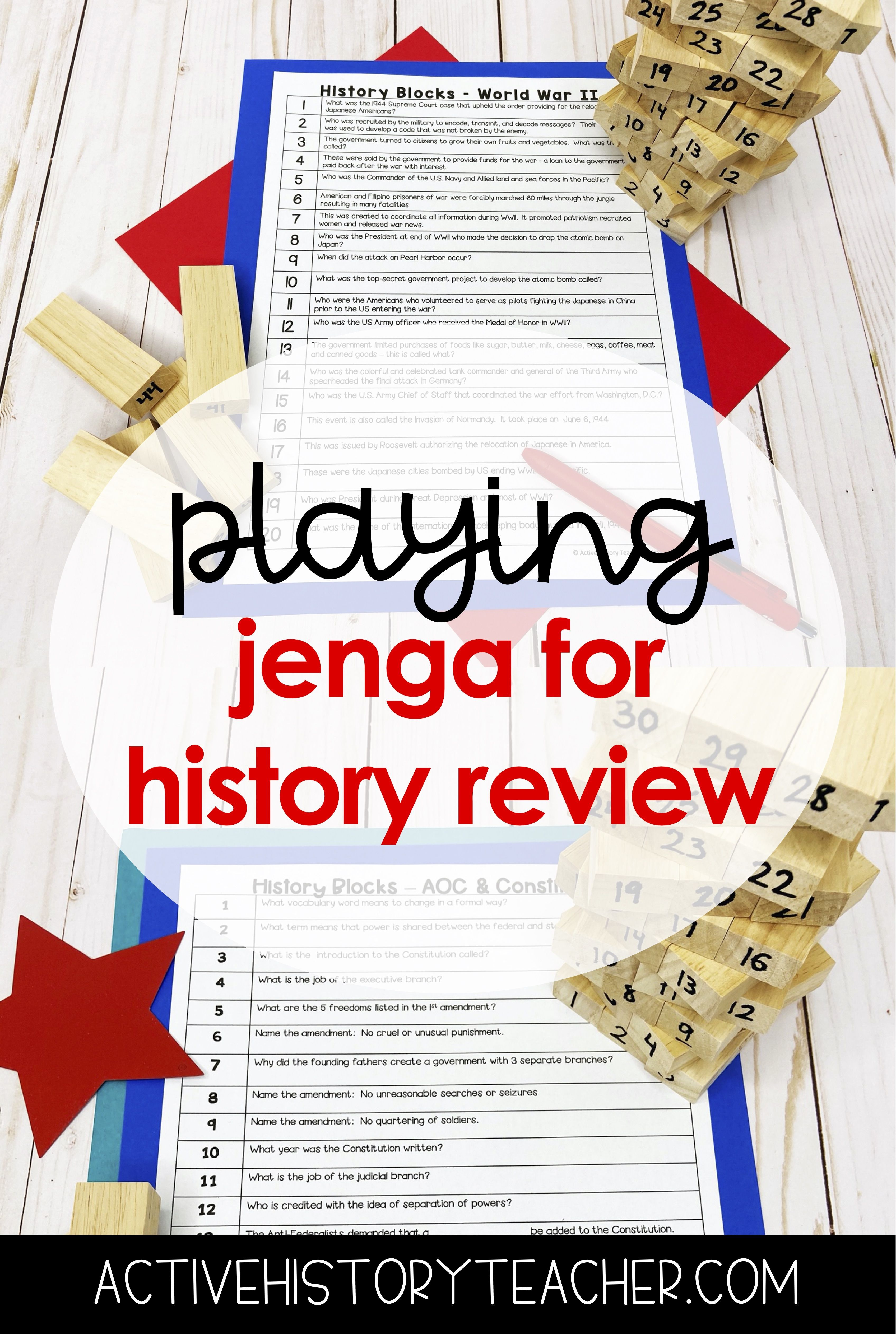 Play Jenga To Review In History Class In