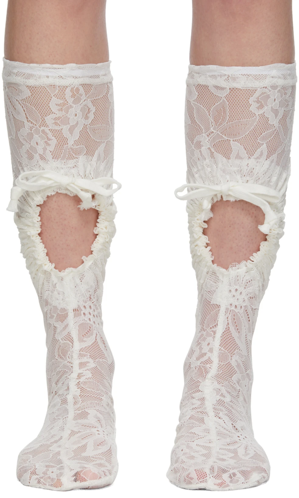 SO002959 Orchid and Peony Flowers Black Lace Knee High Socks