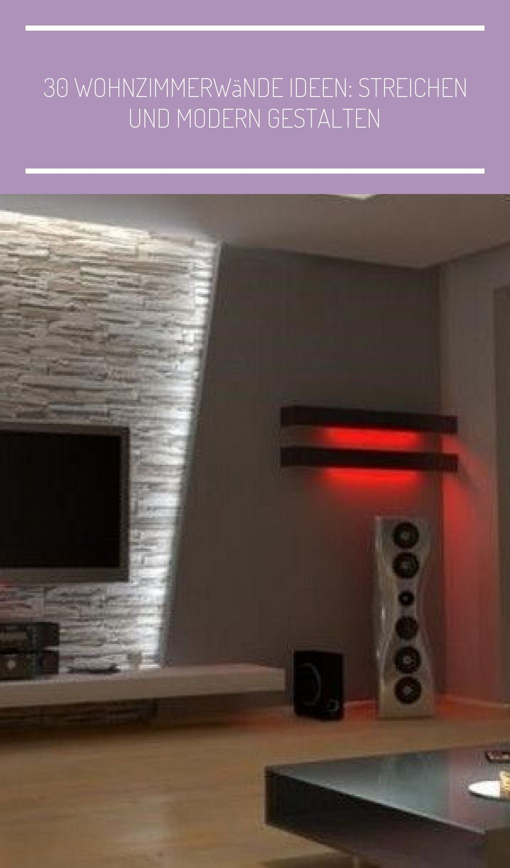 indirekte led Wandbeleuchtung im Wohnzimmer hinter Fernseher #wohn