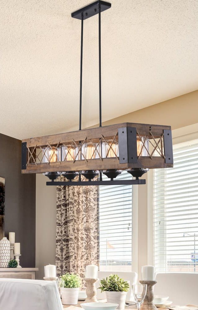 Rectangle Box Pendant Light 5 Lights Dining Room Pendant Wood Chandelier Dining Room Dining Room Chandelier