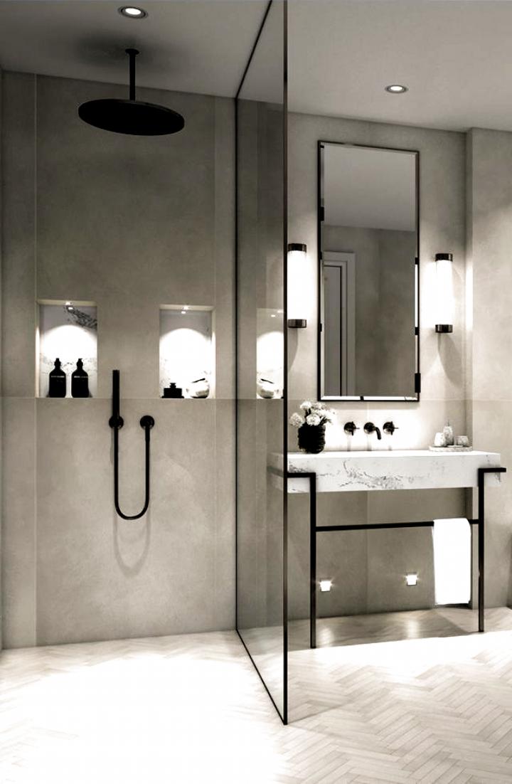 Modernes Minimalistisches Badezimmer Mit Ebenerdiger Dusche Badezimmer Dusche Ebenerdiger Minimalistisches Mit Mode In 2020 Modern Bathroom Modern Bathroom Design Bathroom Interior Design