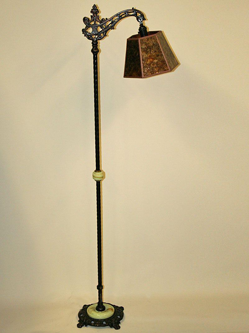 Vintage Cast Iron Bridge Arm Floor Lamp With Floral Motif C Antique Floor Lamps Vintage Floor Lamp Antique Brass Floor Lamp