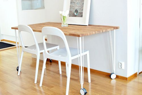 IKEA Butcher Block Table Top + Hair Pin Legs. Weird But I Really Dig This  (with Different Chairs). A Narrow Dining Table Made Of Butcher Block Thatu2026