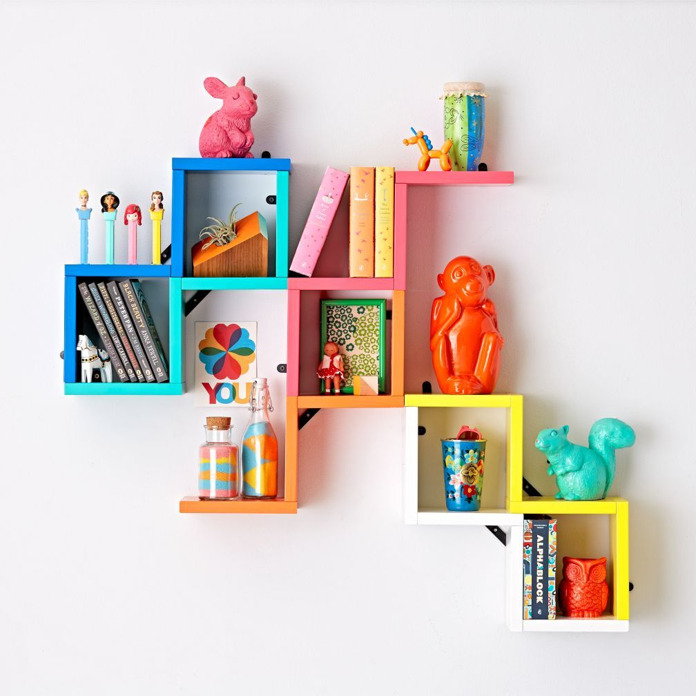 wondrous ideas kids wall shelves. Kids and Baby Store  Crate Origami Wall Shelf Cobalt Blue The Land of Nod Oliver s Room