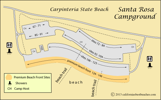 Map Of Santa Rosa Campground In Carpinteria State Beach
