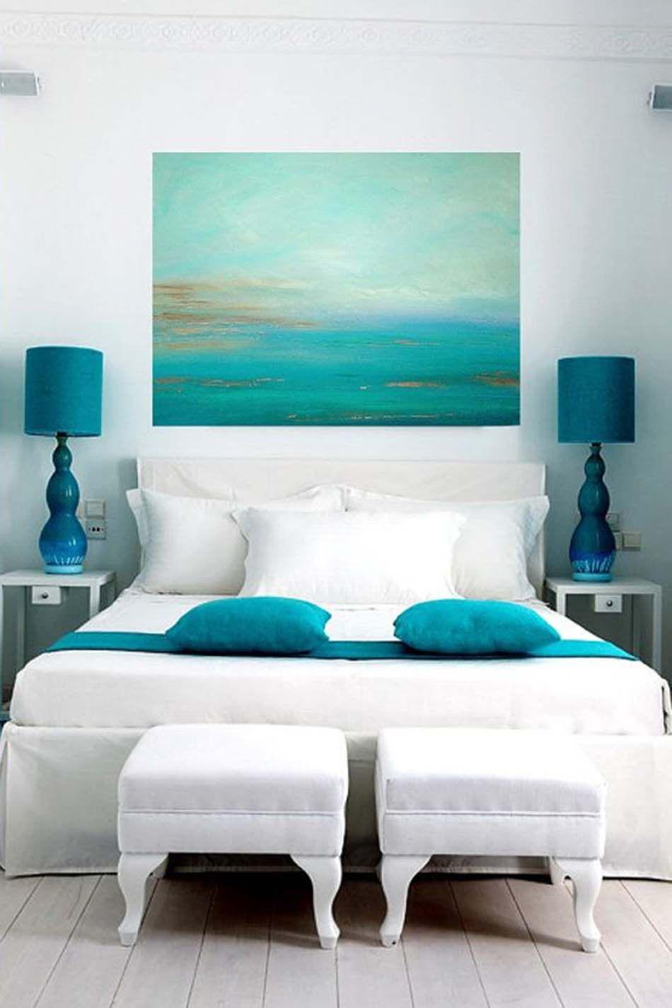 Parfait Une Chambre En Blanc Et Turquoise Nous Transporte Pendant Les Jours Du0027été  Près De La Mer