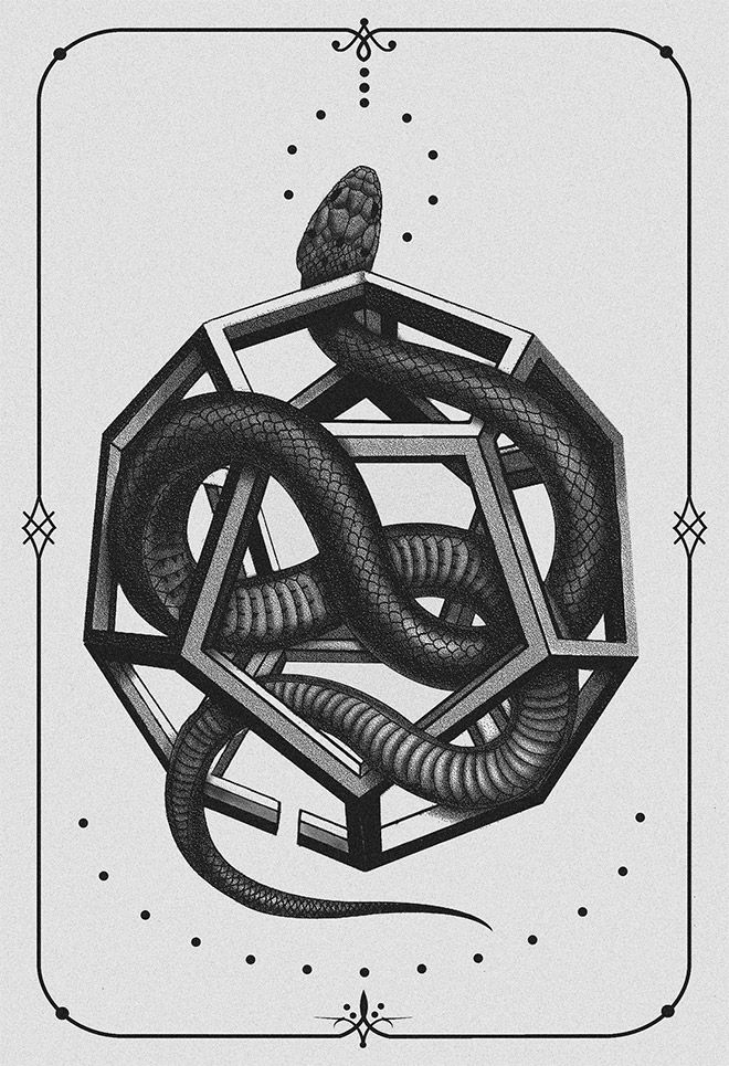 Geometric Snake Tattoo Design: 40 Sinister Pieces Of Art & Design Work Featuring Snakes