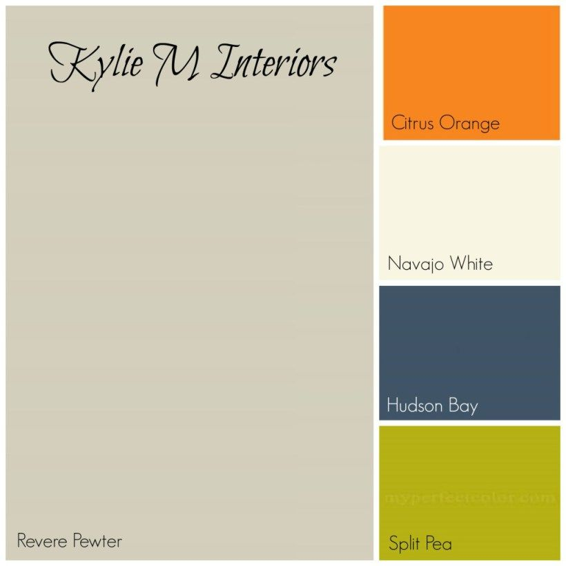 Revere Pewter Gray Paint Colour Palette With Orange Cream Navy Blue And Green For