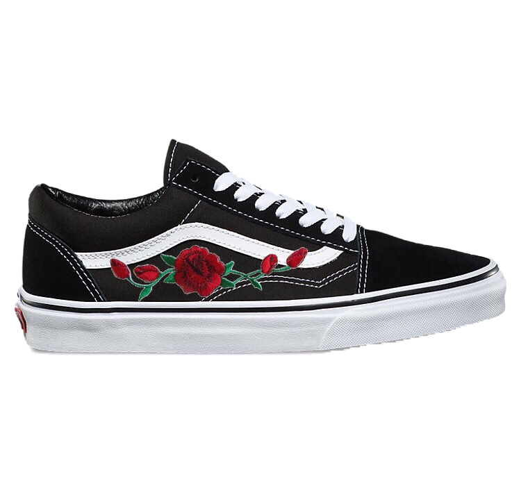 010440e237 Image of Black Old Skool with Red Rose