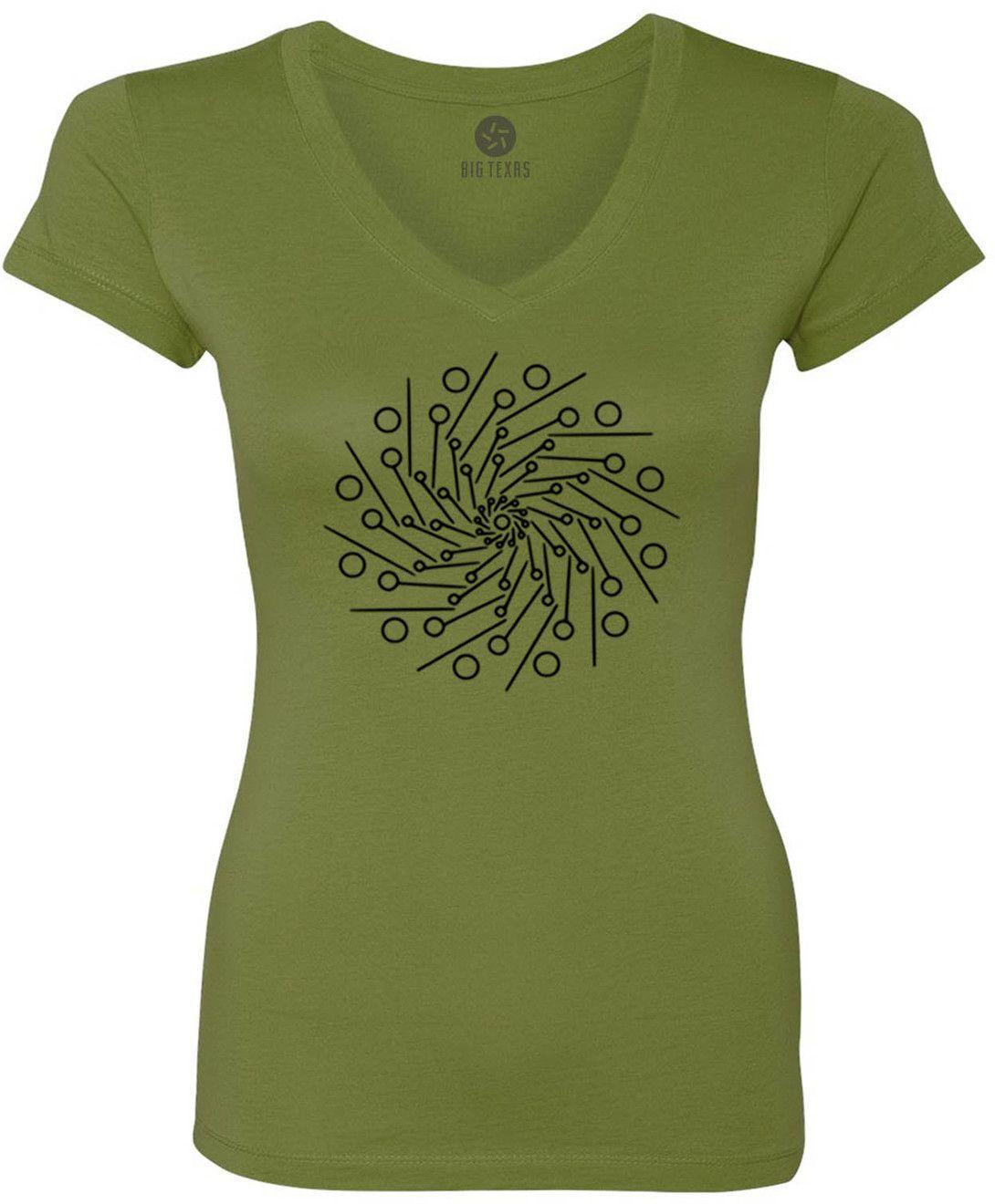 Pin Wheel Mandala (Black) Women's Short-Sleeve V-Neck T-Shirt