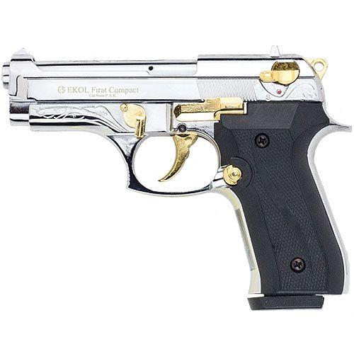 Firat Compac 92 Blank Firing Replica Gun Nickel Gold Engraved