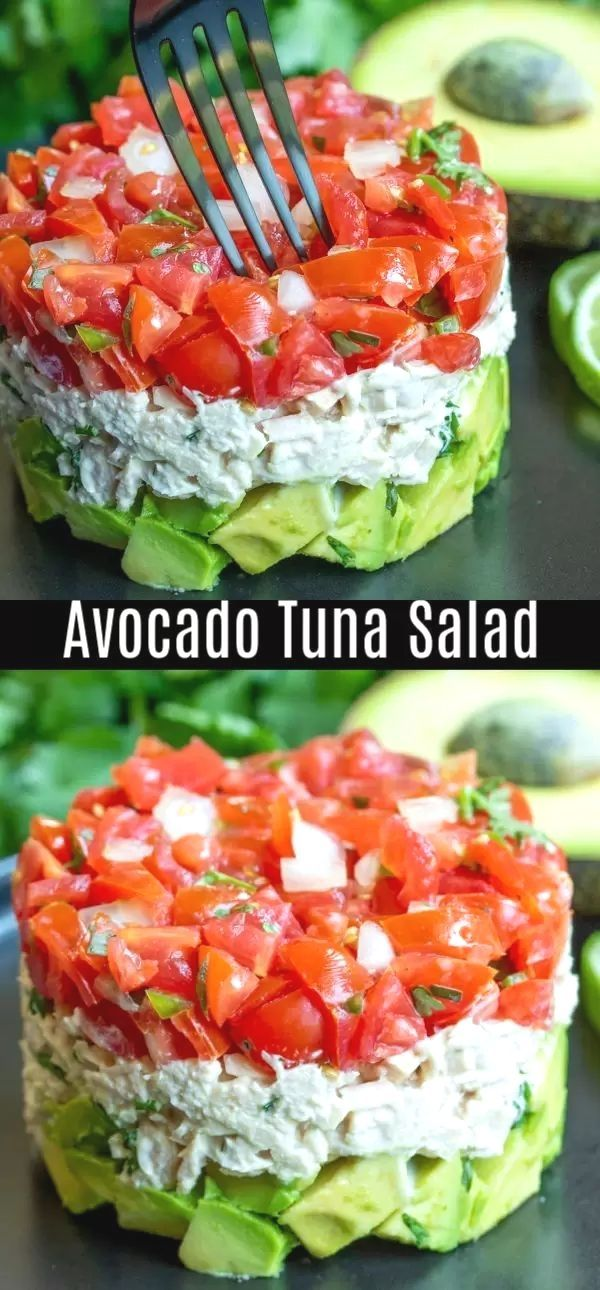 This healthy Avocado Tuna Salad recipe is a keto and low carb lunch or dinner recipe made wi