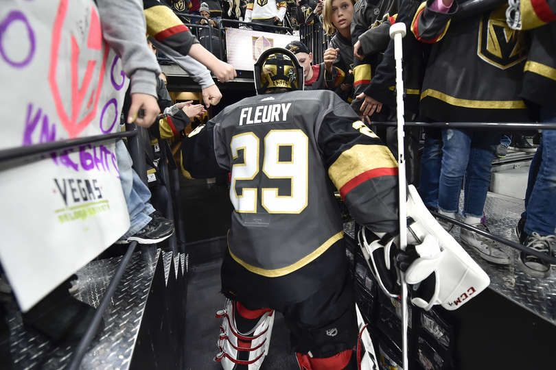 Las Vegas Nv April 13 Marc Andre Fleury 29 Of The Vegas Golden Knights Walks Down The Tunnel To Golden Knights Hockey Golden Knights Vegas Golden Knights