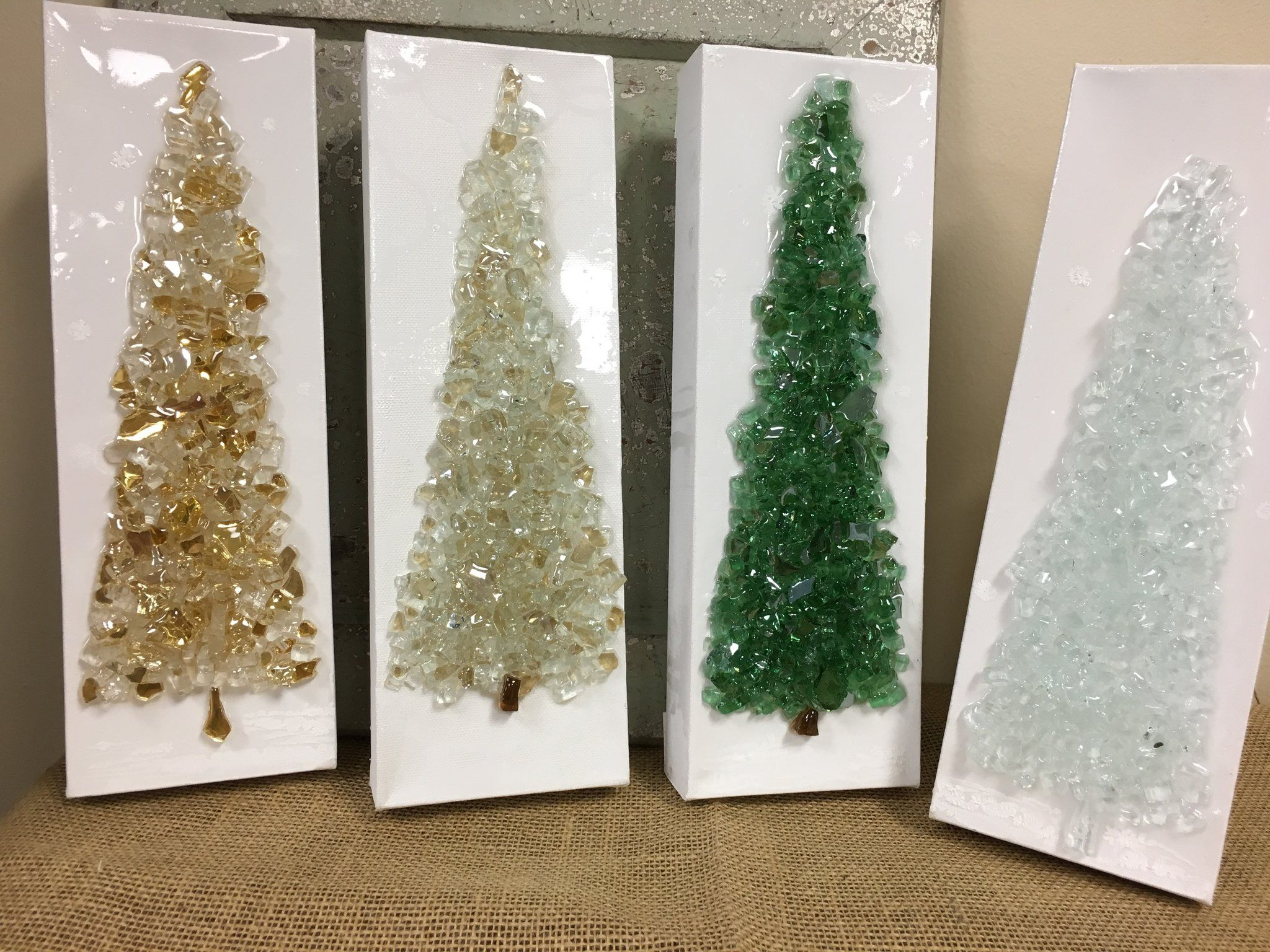 Christmas Tree - mixed media using crushed glass and resin hand ...