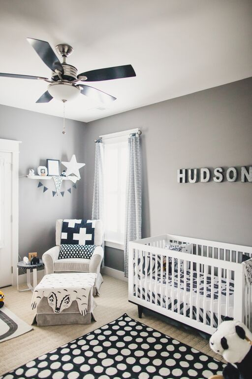 Soft Gray Paint Idea With Black And White Decor For Boys Nursery Room