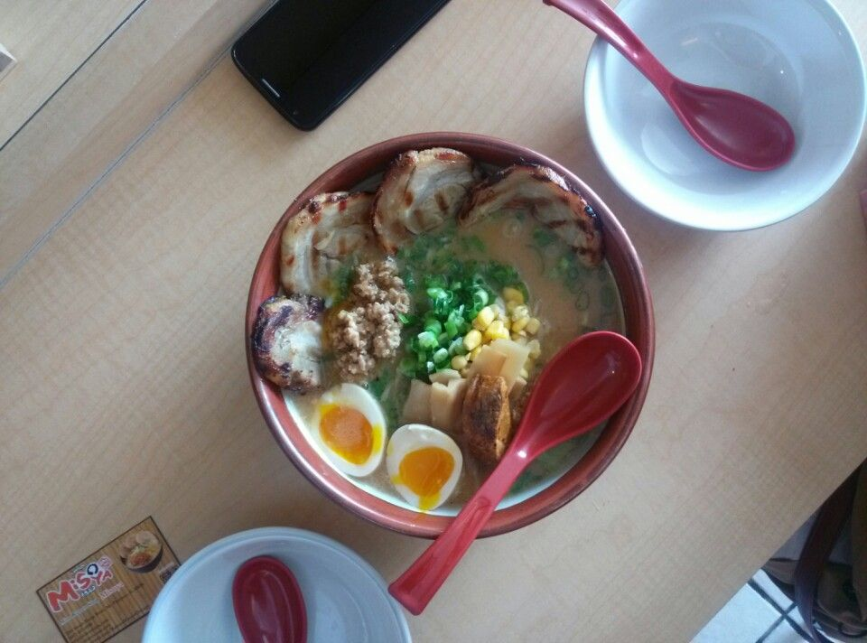 """Ramen Misoya in Mount Prospect, IL. """"#1: Misoya (31/35) — Kome Miso Cha-shu Ramen ($12.40, not including additional toppings)"""" - from Serious Eats' rankings of ramen spots in Japan: http://chicago.seriouseats.com/2013/09/the-best-ramen-in-chicago-revisited-slideshow.html"""