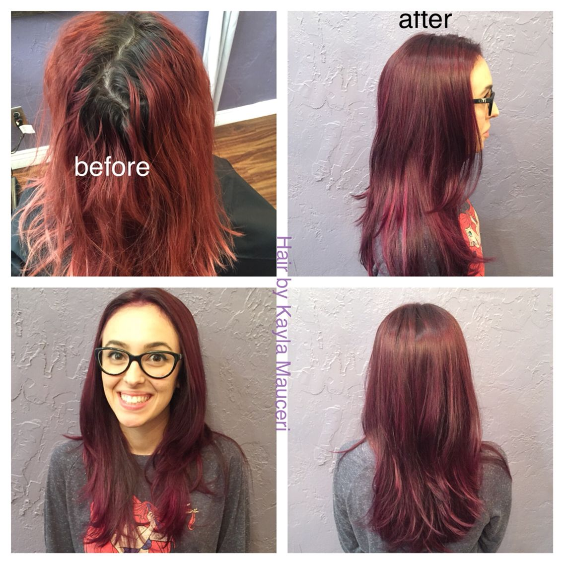Grown Out Red To Deep Violet Hair Color Violet Hair Colors Violet Hair Deep Violet Hair