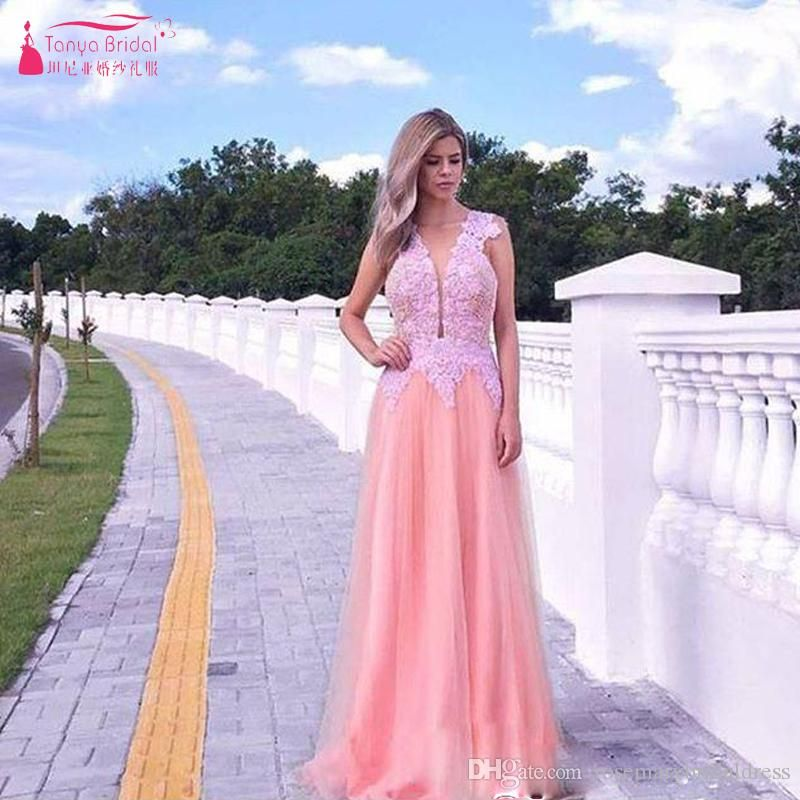 Pink A Line Tull And Lace V Neck Prom Dresses Elegant Simple Evening