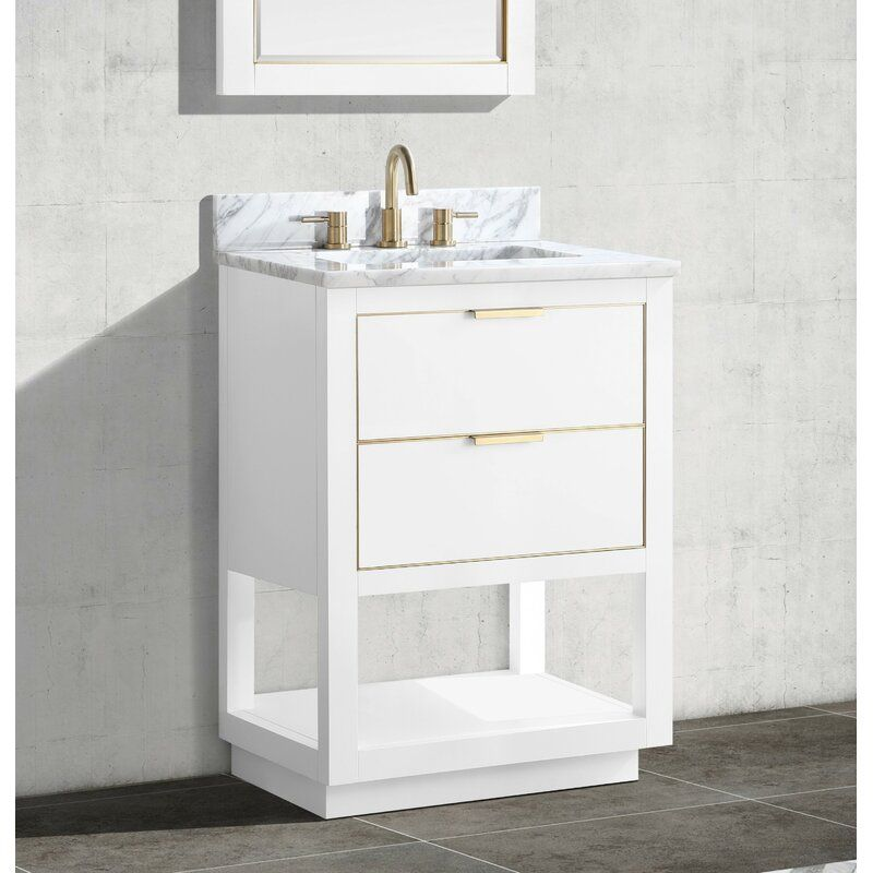 Mercury Row Wilbanks 25 Single Bathroom Vanity Set Reviews Wayfair In 2020 Single Bathroom Vanity Single Sink Bathroom Vanity Vanity Set