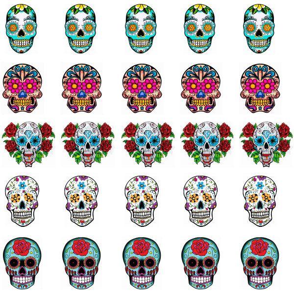Sugar Skulls Nail Art Decals by alex2cole on Etsy, $3.99   calaveras ...