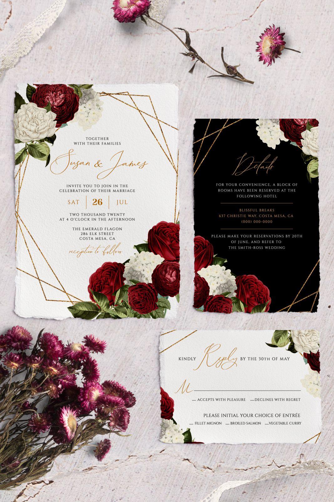 Burgundy Wedding Invitation, Instant Download, Printable