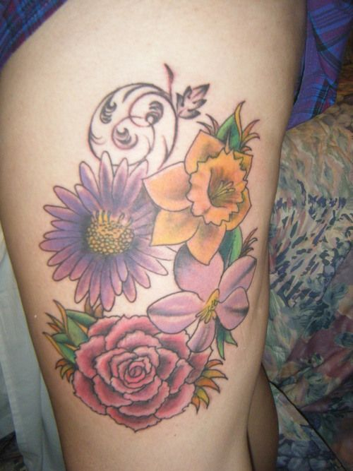 october birth flower tattoo the image kid has it. Black Bedroom Furniture Sets. Home Design Ideas
