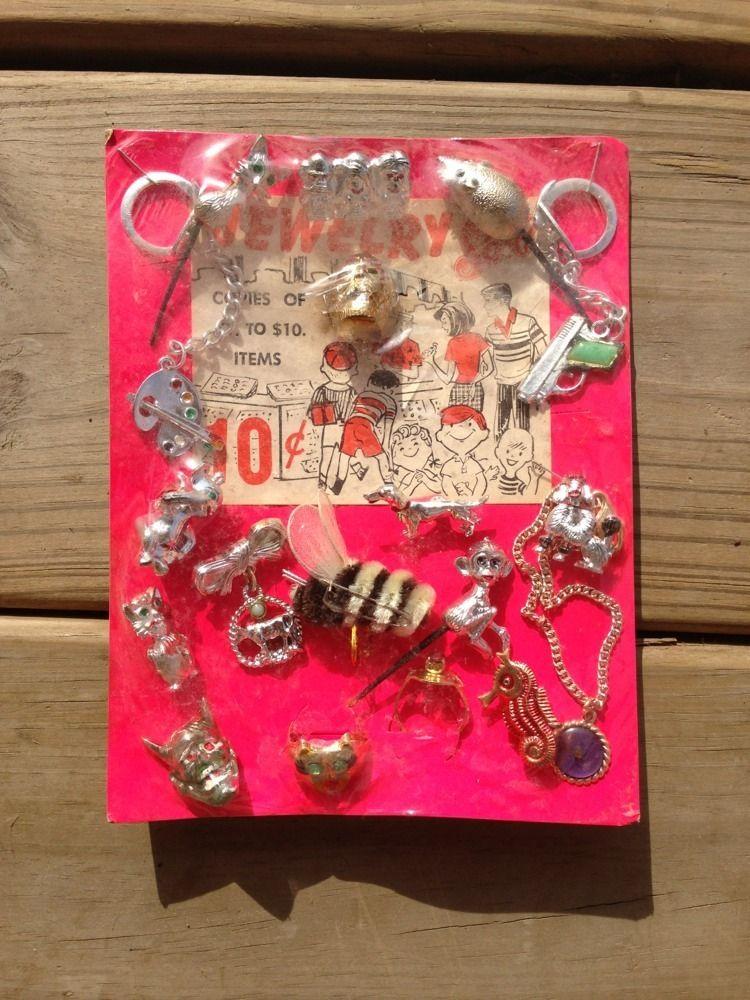 Vintage Charm Gumball Machine Header Card Display Key Chains Jewelry Prizes