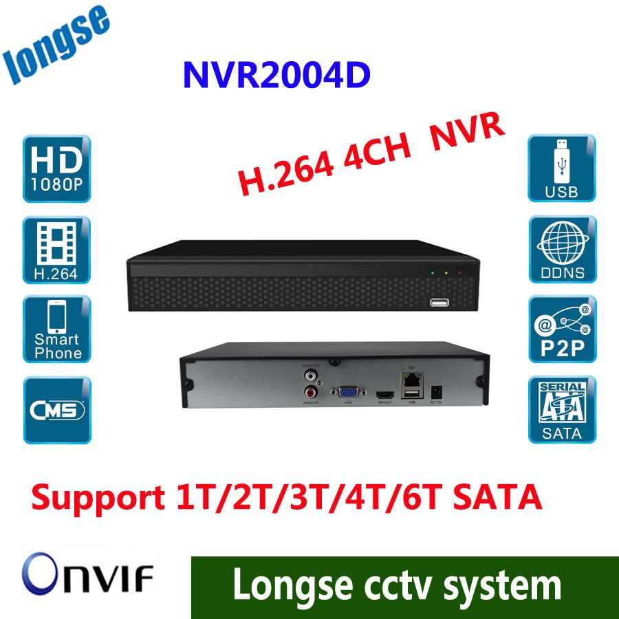 HD NVR 4ch 1080p/ 960P/ 720p Video Recorder NVR PC&Mobile View to IP Camera Onvif HDMI output,Support 1T/2T/3T/4T/6T HDD
