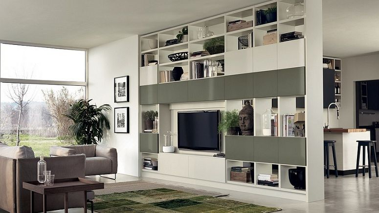 Floor to ceiling room dividers with tv wall shelves u2026 salon pinteu2026