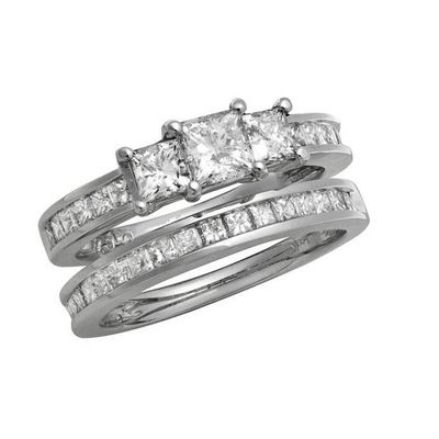 Elegant my dream ring CT Princess Cut Diamond Three Stone Bridal Set in White Gold View All Rings Zales