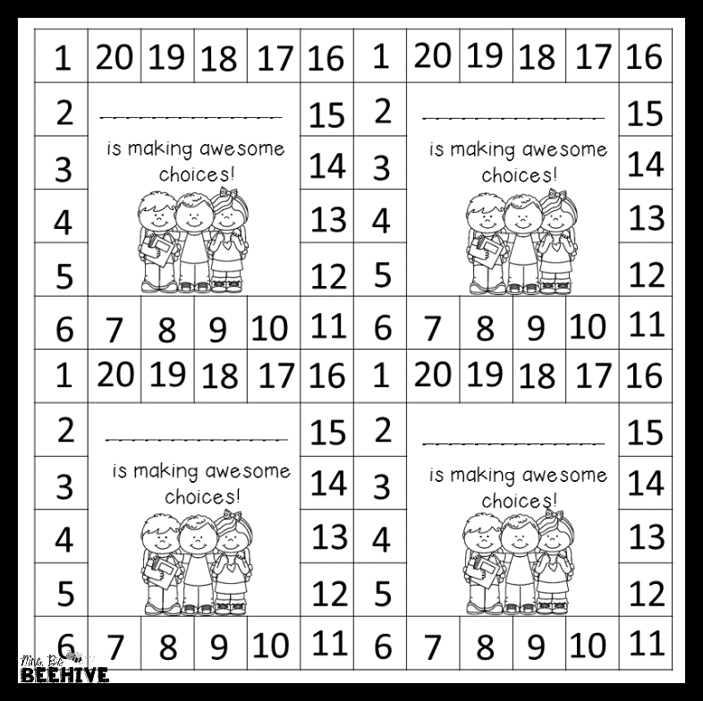 Behavior Punch Cards Freebie Behavior Punch Cards Behavior Cards Punch Cards