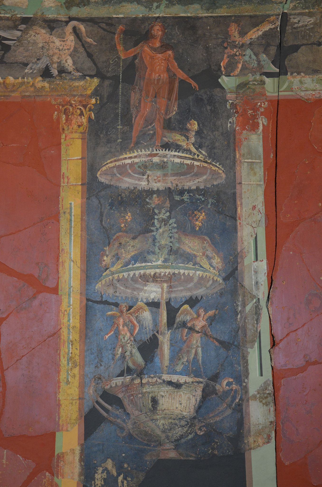 Wall painting with Dionysian scenes from a luxurious Roman