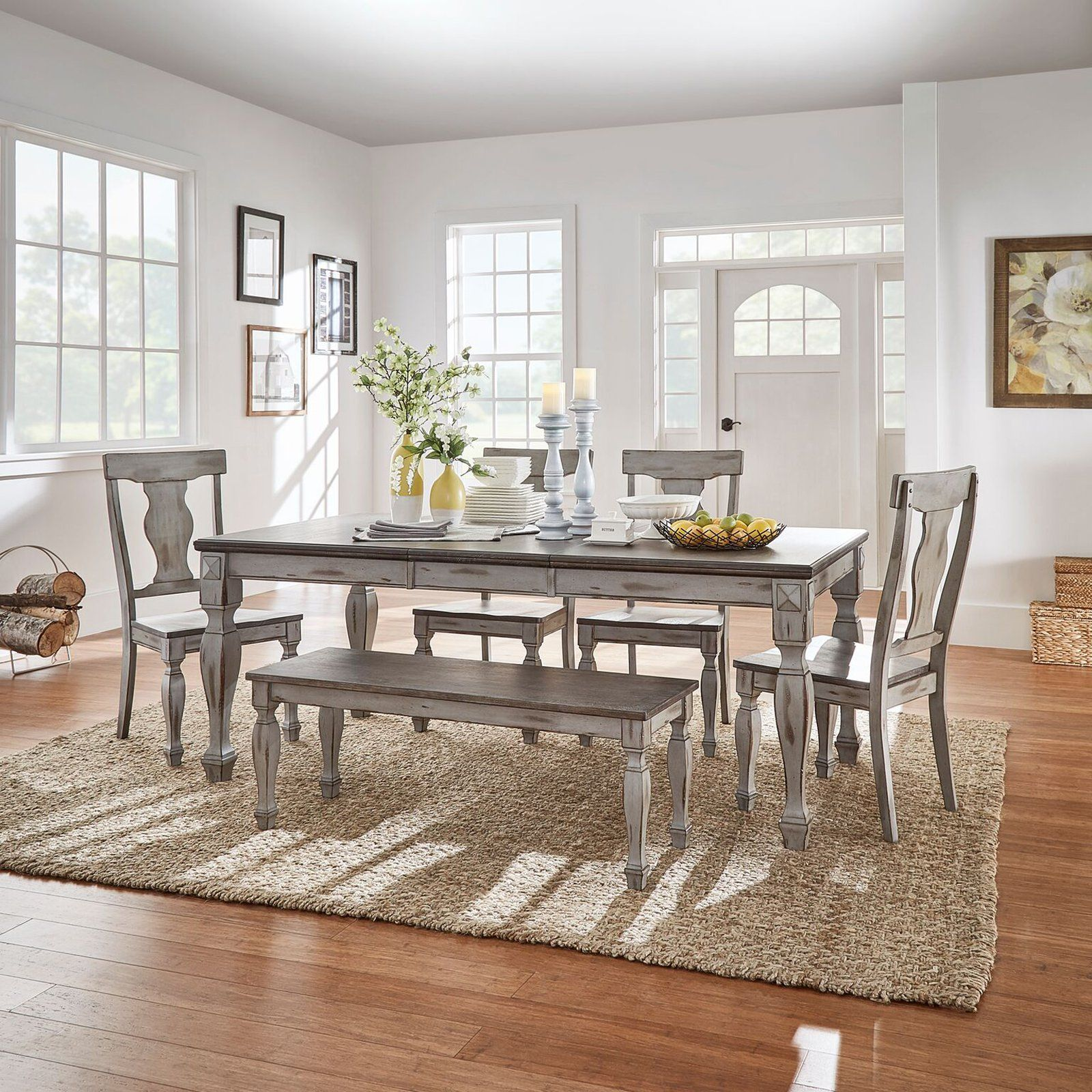 Weston Home Two Tone 6 Piece Extension Dining Set Weston Home