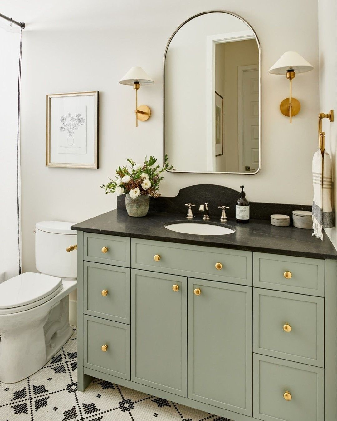 Sage Green Bathroom Vanity With Gold Hardware By Lexi Westergard Design In 2021 Guest Bathroom Remodel Guest Bathroom Design Guest Bathroom [ 1349 x 1080 Pixel ]