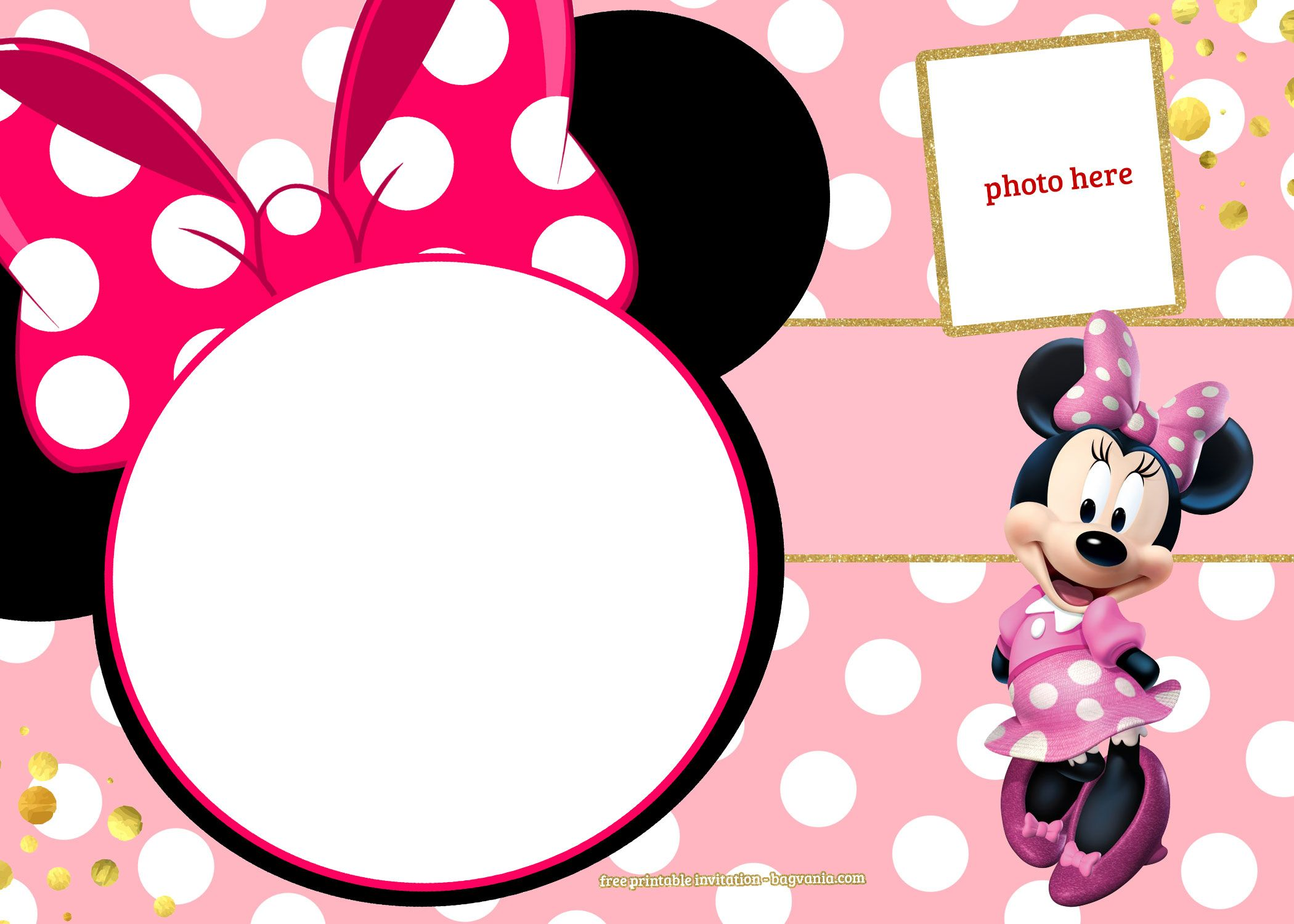 FREE Printable Minnie Mouse Pinky Birthday Invitation Template  F