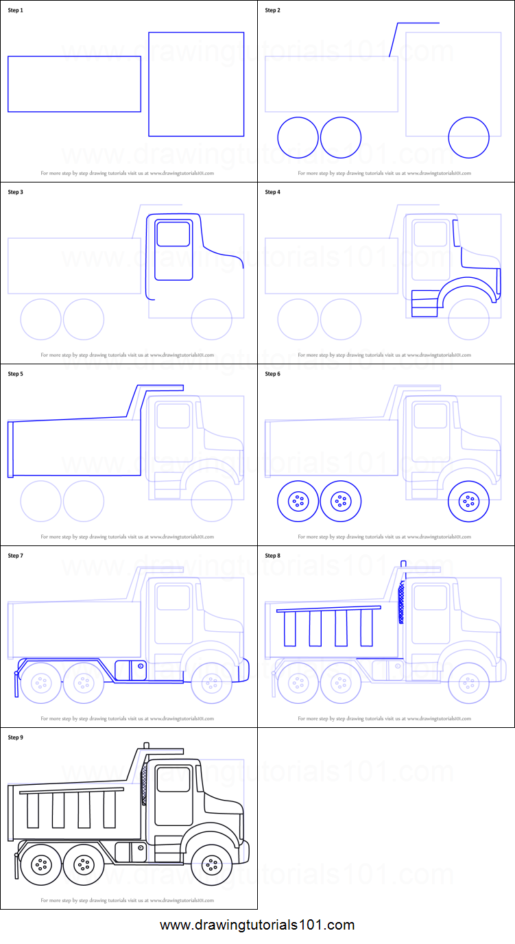 How To Draw Simple Dump Truck Printable Drawing Sheet By